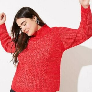 LOFT Plus Cable Knit Mock Neck Cropped Sweater